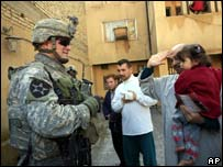 US soldier on patrol in Baghdad