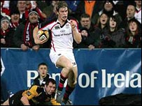 Andrew Trimble runs in for his try in Ulster's Magners League win