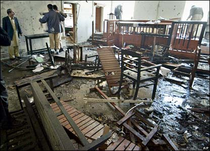 Bomb wreckage in courtroom