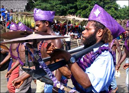 Marching band at cargo cult ceremony in Tanna