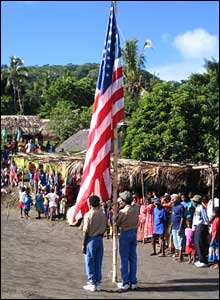 Flag-raising ceremony in Tanna