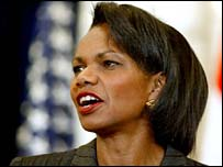 Condoleezza Rice speaks to US embassy staff in Baghdad