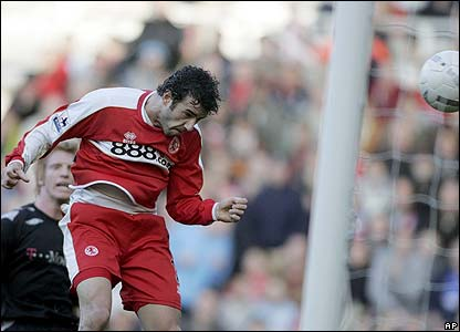 Julio Arca heads Middlesbrough ahead