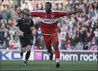 Yakubu celebrates after scoring Middlesbrough's second goal