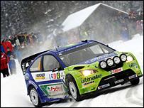 Finland's Mikko Hirvonen in action in Norway