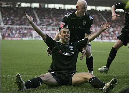 West Brom's Kevin Phillips celebrates scoring their second goal