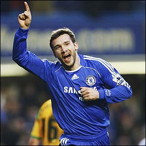 Andriy Shevchenko celebrates scoring the fourth for Chelsea