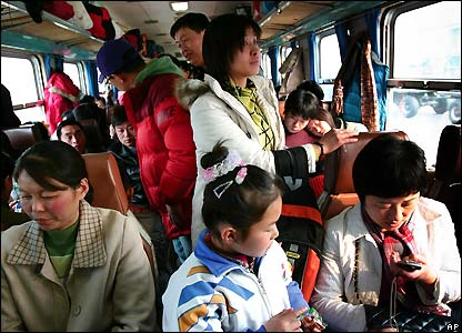 Crowded train in China