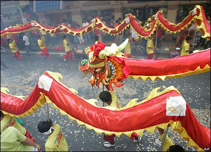 Dragon dance in Manila, Philippines, Chinatown district