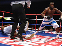 Michael Sprott stunned Audley Harrison in round three