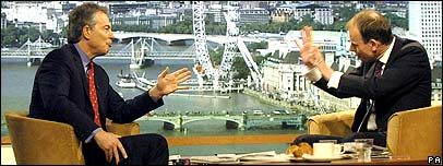 Tony Blair with interview Andrew Marr, right.