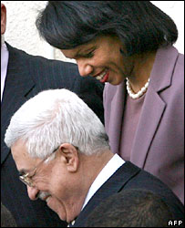 Condoleezza Rice and Mahmoud Abbas leave talks in Ramallah