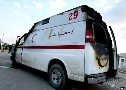 A damaged Red Crescent ambulance in Baghdad