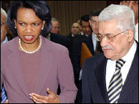 Condoleezza Rice and Mahmoud Abbas in Ramallah