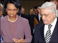Condoleezza Rice and Mahmoud Abbas in Ramallah