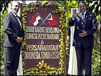 East Timor President Xanana Gusmao, left, with Indonesia's President Susilo Bambang Yudhoyono, at the opening of the truth commission in Bali in August 2005