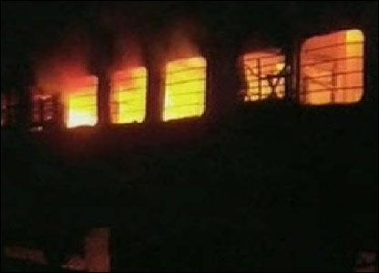 Flames engulf the Samjhauta Express