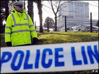 Police at DVLA building in Swansea