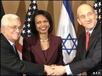 Abbas, Rice, Olmert