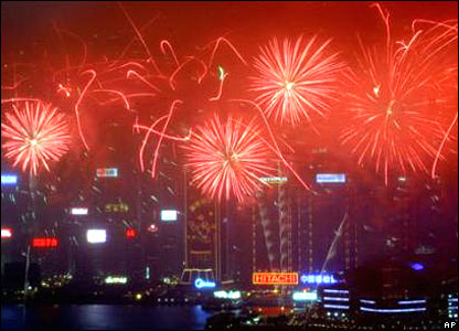 Fireworks explode over Hong Kong's Victoria Harbour