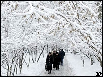 Snow in a Moscow park