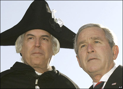 President Bush with George Washington, played by actor Dean Malissa.