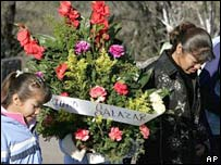 The family of a dead miner arrive to a mass for the 65 men killed during the 2006 explosion in Pasta de Conchos' coal mine .