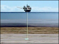 Imagen generada por computadora de un barco depositando CO2