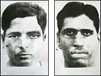 Photographs of two men issued by Indian police in connection with the train bomb attack
