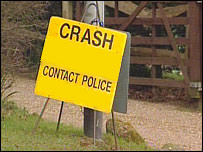 Police crash sign