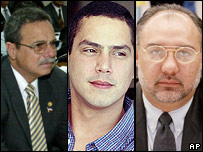 Murdered Salvadorian lawmakers Jos� Ramon Gonzalez, Eduardo D'Aubuisson, William Pichinte.