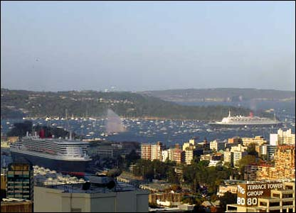 Queen Mary 2 and QE2 in Sydney