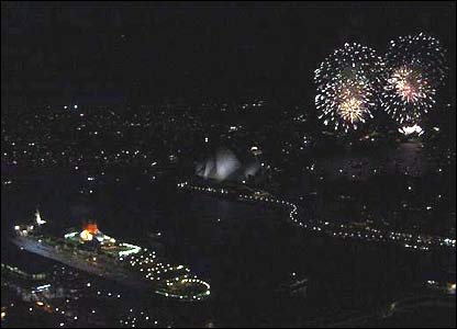 Fireworks and Queen Elizabeth 2
