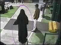 CCTV image said to be Yassin Omar in a burka in Birmingham