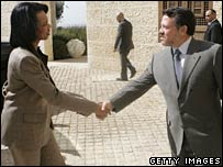 US Secretary of State Condoleezza Rice and Jordan's King Abdullah in Amman