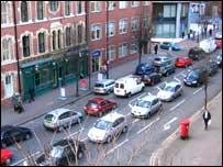 Traffic is backed up across Belfast (Bedford Street)