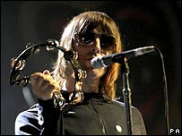Liam Gallagher of Oasis performs at the Brits