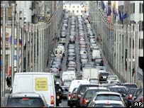 Traffic jam near EU offices in Brussels