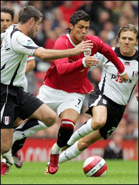 Christiano Ronaldo in action against Fulham at Old Trafford earlier this season
