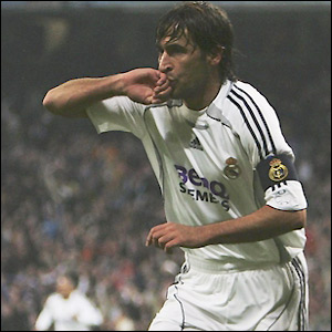 Raul celebrates his early close-range strike