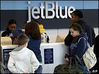 Passengers waiting to check in for jetBlue flights