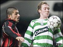 Rino Gattuso challenges Celtic's Aiden McGeady