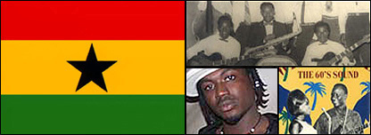 Composite image: Ghana flag (left), ET Mensah and the Tempos (top), Batman (bottom left), Palm Wine music poster (bottom right)