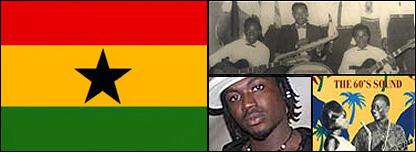 Composite image: Ghana flag (left), ET Mensah and the Tempos (top), Batman (bottom left), Palm Wine music poster (bottom right)