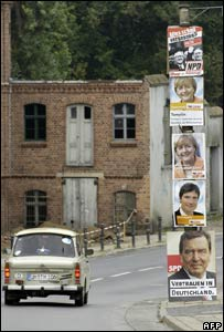 Trabant at election time in Templin, eastern Germany