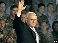 US Vice-President Dick Cheney waves to US troops stationed at Yokosuka Naval Base, Japan, on 21 February 2007
