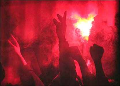 Red flare at the Manchester United v Lille game