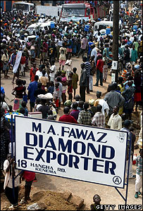 Crowds thronging the main street of Kenema, centre of the diamond trade in Sierra Leone