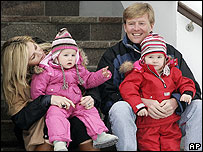 Dutch Prince Willem-Alexander (right) holds daughter Catharina-Amalia beside his wife Princess Maxima with daughter Alexia