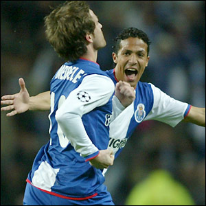 Raul Meireles and team-mate celebrate Porto's early goal